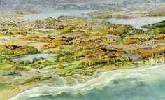 ✨ Oscar Droege (1898-1983) - Panoramablick, Aquarell, 39 x 62 cm ::: Panoramic…
