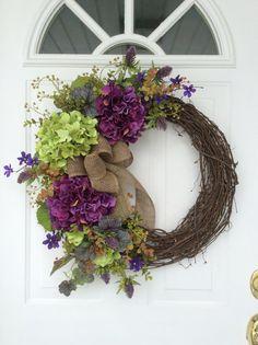 Spring Wreaths-Hydrangea Wreath-Front Door Wreath-Rustic Wreath-Mother's Day…