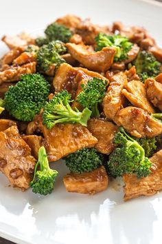 Recipe including course(s): Entrée; and ingredients: black pepper, boneless, skinless chicken breast, broccoli, brown rice, chicken broth, garlic, green onion, salt, teriyaki sauce