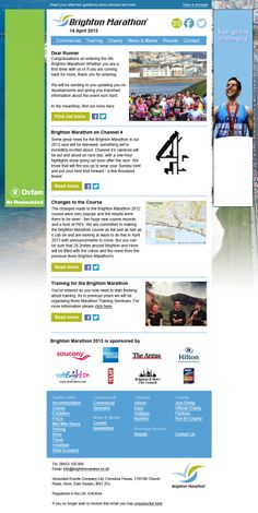 Email template designed and built for Brighton Marathon.  Visit Pure360.com for more information.