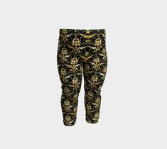 Gold and Black Leggings, Baby Leggings by Brittany Bonnell. Artwork in baby friendly sizes on our printed leggings for your little ones. Shop Art, Baby Leggings, Design Lab, Printed Leggings, Knitted Fabric, Brittany, Little Ones, Youth, Pajama Pants