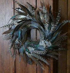 20 Feather Wreath Rooster Pheasant by theNestatWindyCorner on Etsy, $110.00