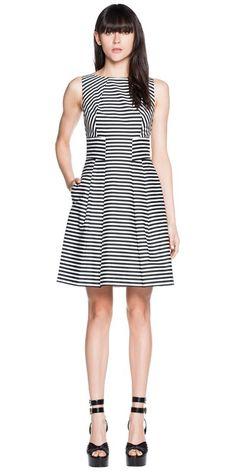 Dresses | Stripe Cotton Pleat Dress