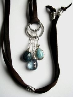 Leather & Sterling Necklace with Larimar Teal Topaz by saltyduck, $118.00