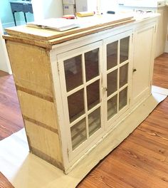 Ready to add an island to your kitchen? Here's a great way to transform a cabinet into a kitchen island that will match your home. Kitchen Island With Seating, Diy Kitchen Island, Kitchen Peninsula, Bedroom Furniture Redo, Kitchen Furniture, Kitchen Decor, Refinish Kitchen Cabinets, Wood Cabinets, How To Clean Furniture