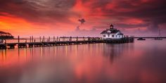 Sunrise at Manteo - Lingering clouds after a night of thunderstorms created a fantastic sunrise over the Manteo Lighthouse in North Carolina.