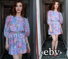 #Vintage #80s #Silk #Floral #Peplum #Mini #Dress M L by shopEBV on Etsy, $65.00 #summer