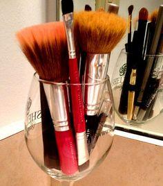Click Pic for 34 DIY Makeup Storage Ideas   Wine Glass   Small Closet Organization Ideas   DIY Makeup Organizer Ideas