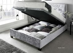 Kaydian Design Walkworth 4FT 6 Double Fabric Ottoman Bed - Silver Velvet & Chatsworth Silver Crushed Velvet Ottoman Storage Bed Frame- Double ...