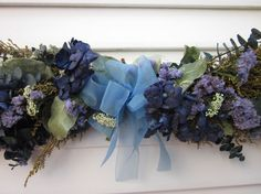 Dried Flower Swag Arrangement With Blue Flowers by NotJustWeeds, $25.00
