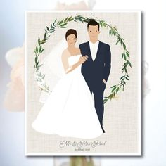 Custom Wedding Ilration For Invitations Thank Yous Stationery Or As A Gift The Hy Makes Great First Anniversary