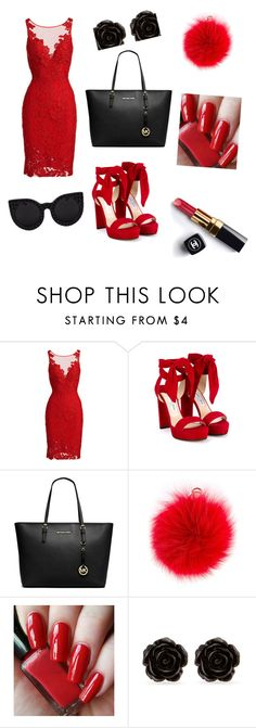 """""""red outfit"""" by kaja-232 ❤ liked on Polyvore featuring ML Monique Lhuillier, Jimmy Choo, Michael Kors, Furla, Chanel, Erica Lyons and Delalle"""