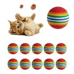 Itemap 10Pcs Rainbow Pet Ball Toy for Little Dog Cat Kitten ** Details can be found by clicking on the image. (This is an affiliate link and I receive a commission for the sales)