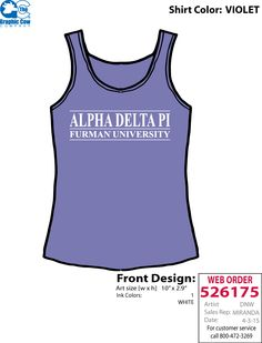 Simple ADPi tank in your school colors.