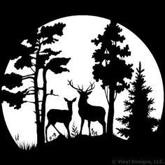 Buck and Doe Deer in the Moonlight, Hunting Vinyl Wall Decal Sticker Art, Removable Home Decor, Mural, White