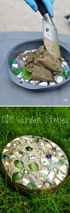 Ornate Garden Stepping Stone Concrete and Glass