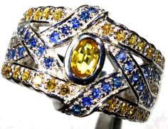 47.15 CTS CITRINE AND TOPAZ SILVER RING SG-2469