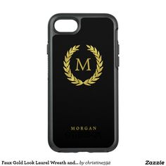 Faux Gold Look Laurel Wreath and Monogram on Black OtterBox Symmetry iPhone 7 Case