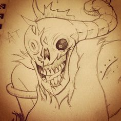 The Lich (in Billy body), from Adventure Time (Finn the Human episode) - sketchpad (first posted @bokaier instagram)