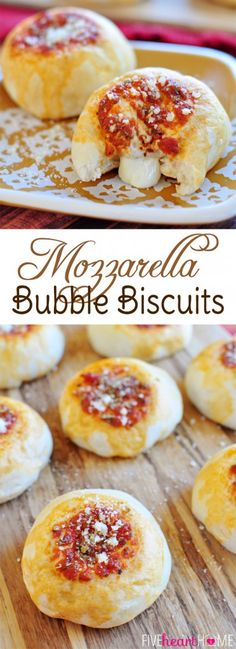 Mozzarella Bubble Biscuits ~ refrigerated biscuits with gooey, cheesy centers and marinara on top | FiveHeartHome.com