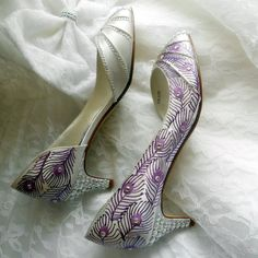 Wedding Shoes Bridal purple Peacock Feathers crystals by norakaren, $250.00