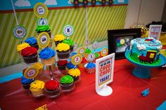 """Puns like """"choo-choo-chose a treat"""" carried throughout all the party printables."""