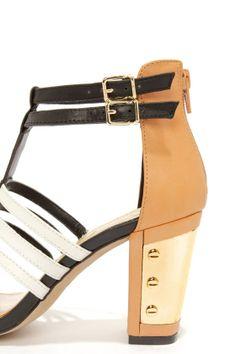 Jessica Simpson Jennisin Black, Natural, and White T-Strap Heels at LuLus.com!