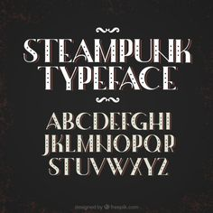 Alphabet in steampunk style Free Vector