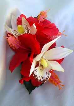 Hibiscus and Orchid Hair clip with Tropical Greenery