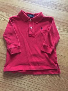 Red Toddler Boys Polo Ralph Lauren Long Sleeve Shirt 18 Months Christmas Holiday | eBay