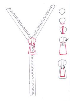 How to draw zipper- Quick and easy tutorial from the biggest free online resource for drawing fashion sketches step-by step. Flat Drawings, Flat Sketches, Drawing Sketches, Technical Drawings, Dress Sketches, Drawing Faces, Fashion Design Drawings, Fashion Sketches, Croquis Fashion