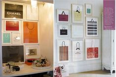 wall decorated with framed designer shopping bags