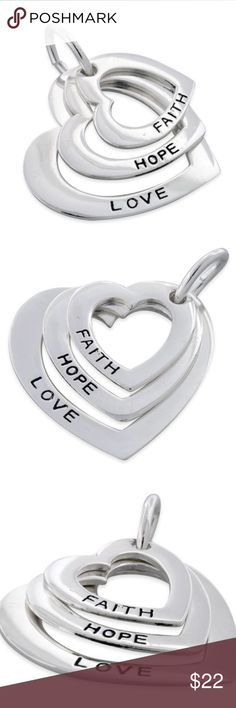 Final Price! Sterling Silver Faith-Hope-Love Height: Large Heart: 21.2mm | Mid Heart: 16.15mm | Small Heart: 13.8mm Width: Large Heart: 22.4mm | Mid Heart: 17.7mm | Small Heart: 14.1mm Thickness: 0.8mm Bail opening: 6.4mm Metal: 925 sterling silver Finish: high polish & oxidized Jewelry Necklaces