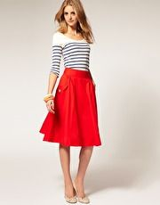 (Teacher Style) High waisted below the knee a-line red skirt - white and navy stripe 3/4 sleeve top - nude flats (asos.com)