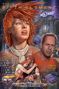 The Fifth Element by Oscar Martinez Iconic Movie Posters, Movie Poster Art, Iconic Movies, Good Movies, Science Fiction, Fiction Movies, Dope Cartoons, Dope Cartoon Art, Milla Jovovich Fifth Element