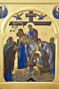 The Descent from the Cross or Deposition of Christ Byzantine Art, Byzantine Icons, Religious Icons, Religious Art, Church Icon, Images Of Christ, Russian Icons, Bible Pictures, Best Icons