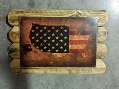 U.S  Retro Metal Flag Map Framed in Distressed Pinewood by ArtMaxAntiques on Etsy