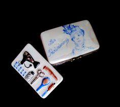 Vintage Limoges Les Parisiennes Beauty Shop Stylist Trinket Box