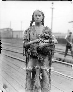 Photo. 1929. Native American Woman & Child At Railway Station
