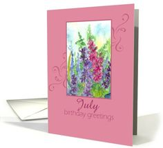 Happy July Birthday Greetings Pink Larkspur Flower Watercolor Painting card