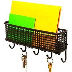 InterDesign York Lyra Wall Mount Mail and Key Rack, Matte Black