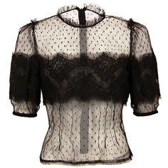 Dolce & Gabbana Black Collarless Plumeti Tulle Blouse - Polyvore
