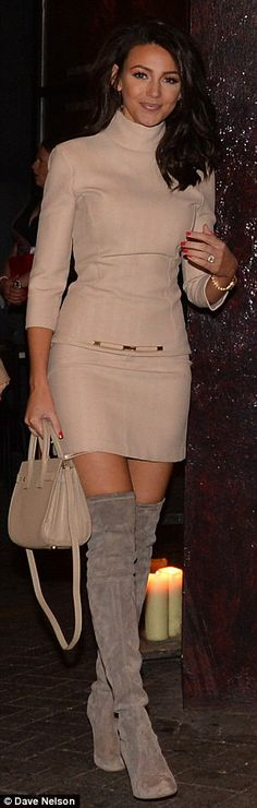Michelle Keegan is stunning in cream mini-dress and thigh-high boots #dailymail