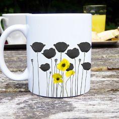 Mug original et personnalisable coquelicot jaune, céramique, tasses personnalisable