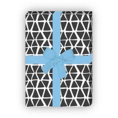 Trendiges handgemaltes Designer Geschenkpapier (4 Bögen 32 x 48cm), schwarz weiß 1