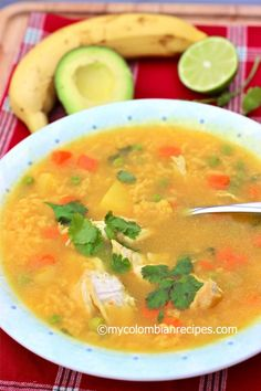 Rice and Soup are staples in Colombia and in this Sopa de Arroz con Pollo the rice creates a wonderful consistency. Sopa de Arroz con Pollo was one of my Mexican Chicken And Rice, Chicken Rice Soup, Chicken Soups, Chicken Asparagus, Chicken Alfredo, My Colombian Recipes, Colombian Food, Plantain Soup, Mozzarella Sandwich