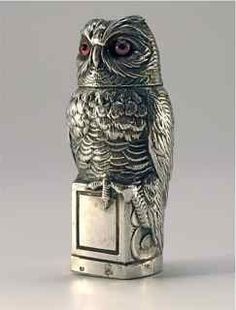 French silver scent bottle in the form of an owl, with hinged cover and glass stopper, French hallmarks, c1860's