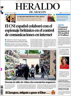 Los Titulares y Portadas de Noticias Destacadas Españolas del 2 de Noviembre de 2013 del Diario Heraldo de Aragón ¿Que le pareció esta Portada de este Diario Español?