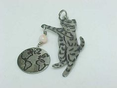 Lovely Designer WINGS signed Vintage STERLING Silver CAT Pendant/Charm | quadrina - Jewelry on ArtFire