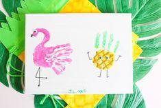 Flamingo and Pineapple Handprint Kids' Craft